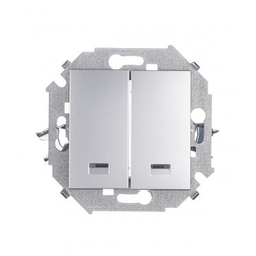 Выключатель Simon 15 1591392-033 двухклавишный скрытая установка алюминий с подсветкой