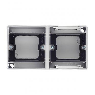 Основание под рамку Simon 44 Aqua двухместную 4400761-035 горизонтальную серое IP55 152х84х33 мм