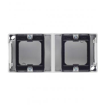 Основание под рамку Simon 44 Aqua двухместную 4400763-035 вертикальную серое IP55 170х75х33 мм