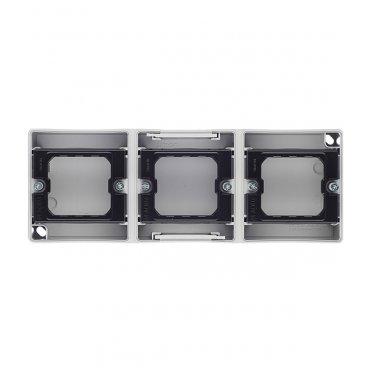 Основание под рамку Simon 44 Aqua трехметную 4400765-035 горизонтальную серое IP55 236х84х33 мм