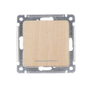 Выключатель HEGEL Master ВС10-432-02 одноклавишный скрытая установка сосна с самовозвратом с подсветкой