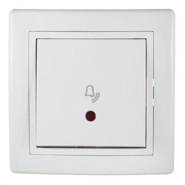 Кнопка звонка с рамкой Aling-conel 610I.000 скрытая установка белая с подсветкой
