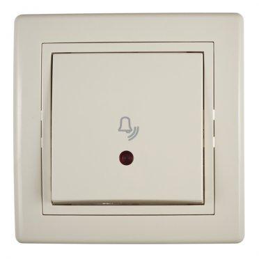 Кнопка звонка с рамкой Aling-conel 610I.999 скрытая установка бежевая с подсветкой