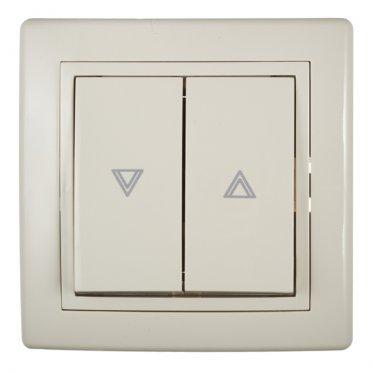 Кнопка управления жалюзи с рамкой Aling-conel 6075.999 скрытая установка бежевая