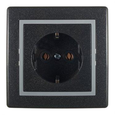 Розетка с рамкой Aling-conel 630.212 скрытая установка графитовая с заземлением