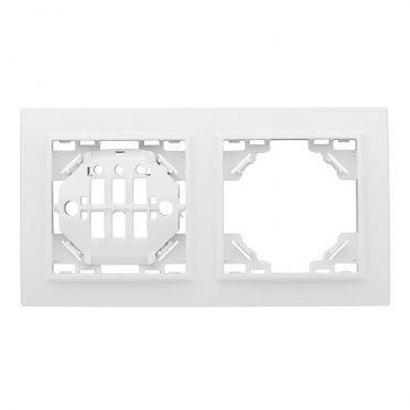 Рамка EKF Минск ERM-G-302-10 двухместная горизонтальная белая