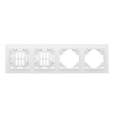 Рамка EKF Минск ERM-G-304-10 четырехместная горизонтальная белая
