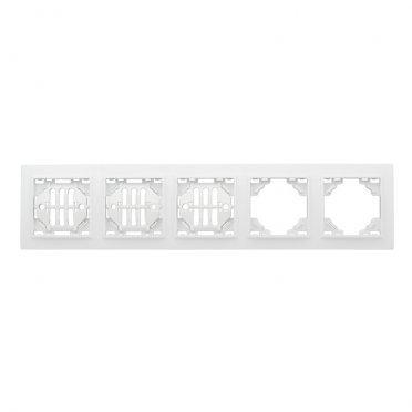 Рамка EKF Минск ERM-G-305-10 пятиместная горизонтальная белая