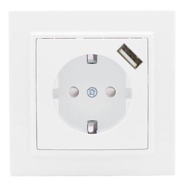 Розетка с рамкой EKF Минск ERR16-028-100-USB скрытая установка белая с заземлением с модулем USB