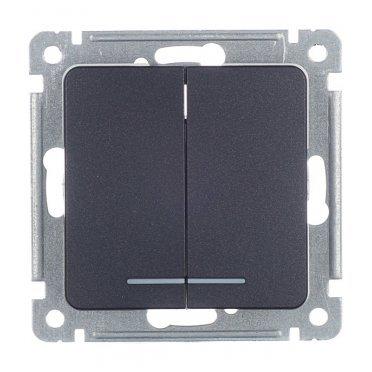 Выключатель HEGEL Master ВС10-452-08 двухклавишный скрытая установка черный с подсветкой