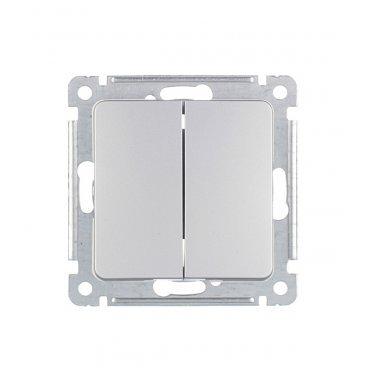 Выключатель HEGEL Master ВС10-451-06 двухклавишный скрытая установка серебро