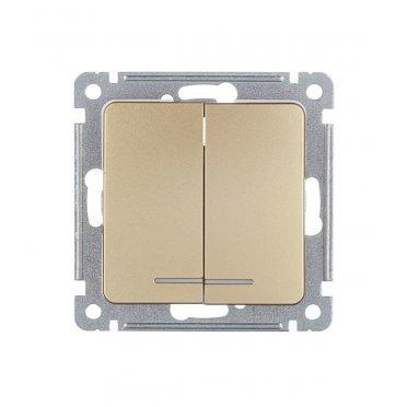 Выключатель HEGEL Master ВС10-452-07 двухклавишный скрытая установка золото с подсветкой