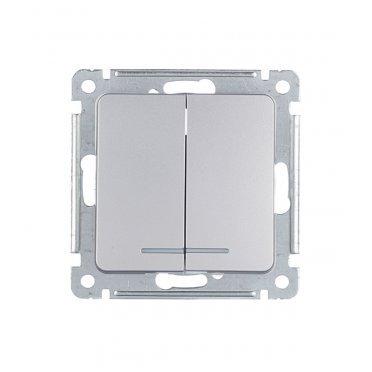 Выключатель HEGEL Master ВС10-452-06 двухклавишный скрытая установка серебро с подсветкой
