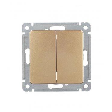 Выключатель HEGEL Master ВС10-451-07 двухклавишный скрытая установка золото