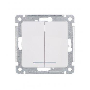 Выключатель HEGEL Master ВС10-452 двухклавишный скрытая установка белый с подсветкой