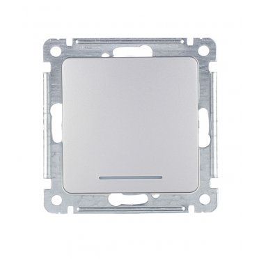 Выключатель HEGEL Master ВС10-432-06 одноклавишный скрытая установка серебро с самовозвратом с подсветкой
