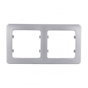 Рамка HEGEL Master Р402-06 двухместная горизонтальная серебро