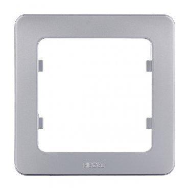 Рамка HEGEL Master Р401-06 одноместная универсальная серебро