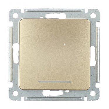 Переключатель HEGEL Master ВС10-462-07 одноклавишный на 2 направления скрытая установка золото с подсветкой