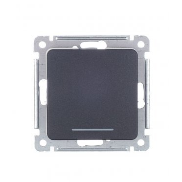 Переключатель HEGEL Master ВС10-462-08 одноклавишный на 2 направления скрытая установка черный с подсветкой