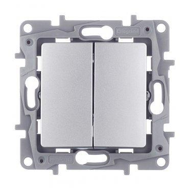 Переключатель Legrand Etika 672412 двухклавишный на 2 направления скрытая установка алюминий