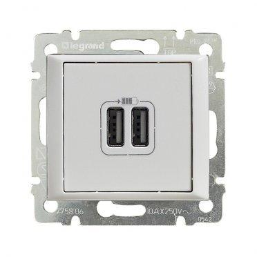 Розетка Legrand Valena 694370 скрытая установка белая два модуля USB
