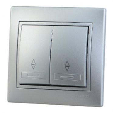 Переключатель с рамкой Lezard MIRA 701-1010-106 двухклавишный на 2 направления скрытая установка металл серый