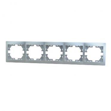 Рамка Lezard MIRA 701-1000-150 пятиместная горизонтальная металл серый