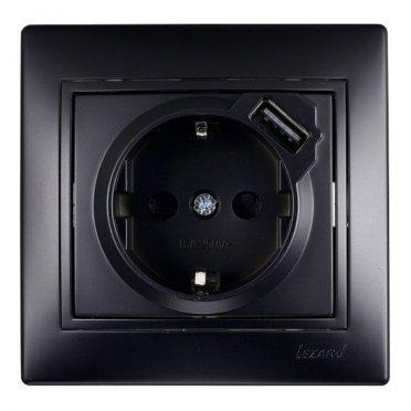 Розетка USB с рамкой Lezard MIRA 701-4242-181 скрытая установка черный бархат с заземлением один модуль USB