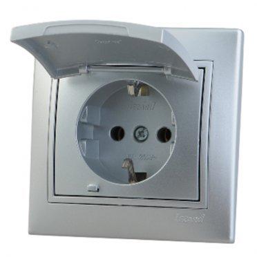 Розетка с рамкой Lezard MIRA 701-1010-123 скрытая установка металл серый с заземлением с крышкой