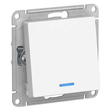 Переключатель Schneider Electric Atlas Design ATN000163 одноклавишный на 2 направления скрытая установка белый с подсветкой