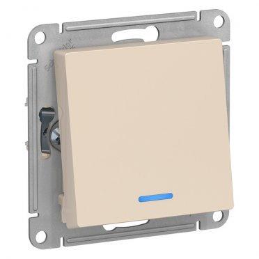 Переключатель Schneider Electric Atlas Design ATN000263 одноклавишный на 2 направления скрытая установка бежевый с подсветкой