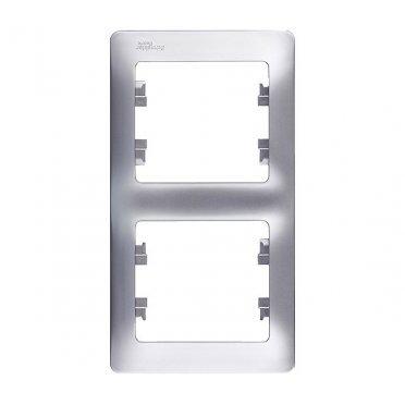 Рамка Schneider Electric Glossa GSL000306 двухместная вертикальная алюминий