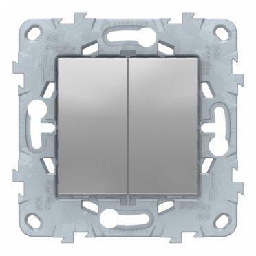 Переключатель Schneider Electric Unica NEW NU521330 двухклавишный на 2 направления скрытая установка алюминий