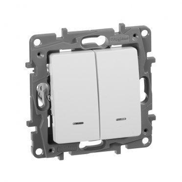 Выключатель Legrand Etika 672204 двухклавишный скрытая установка белый с подсветкой