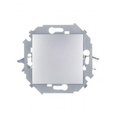 Переключатель Simon 15 1591201-033 одноклавишный на 2 направления скрытая установка алюминий