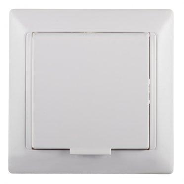 Розетка с рамкой SVET скрытая установка белая с заземлением с крышкой со шторками