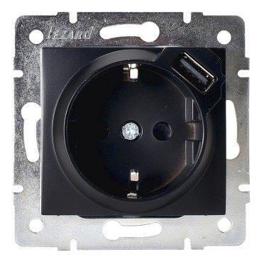 Розетка USB Lezard KARINA 707-4288-181 скрытая установка черный бархат с заземлением один модуль USB