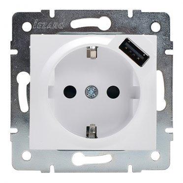 Розетка USB Lezard KARINA 707-0288-181 скрытая установка белый с заземлением один модуль USB