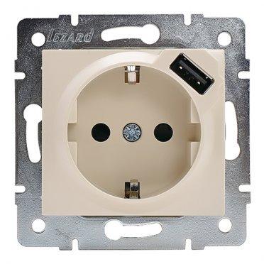 Розетка USB Lezard KARINA 707-0388-181 скрытая установка крем с заземлением один модуль USB