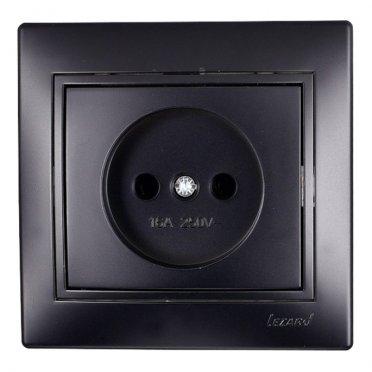 Розетка с рамкой Lezard MIRA 701-4242-121 скрытая установка черный бархат