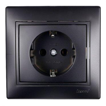 Розетка с рамкой Lezard MIRA 701-4242-122 скрытая установка черный бархат с заземлением