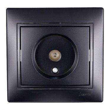 Розетка телевизионная с рамкой Lezard MIRA 701-4242-130 оконечная скрытая установка черный бархат TV