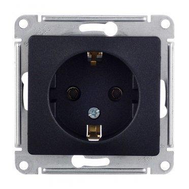 Розетка Schneider Electric Glossa GSL000743 скрытая установка антрацит с заземлением