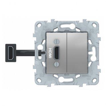 Розетка HDMI Schneider Electric Unica NEW NU543030 скрытая установка алюминий один модуль HDMI