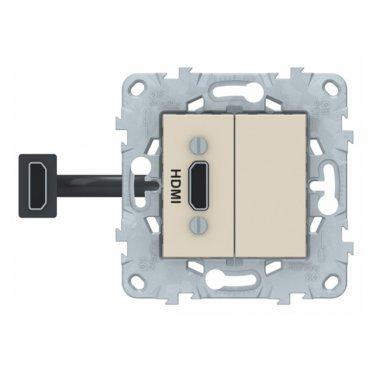 Розетка HDMI Schneider Electric Unica NEW NU543044 скрытая установка бежевая один модуль HDMI