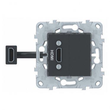 Розетка HDMI Schneider Electric Unica NEW NU543054 скрытая установка антрацит один модуль HDMI