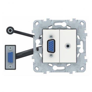 Розетка HDMI Schneider Electric Unica NEW NU593218 скрытая установка белая модули HD15 и mini Jack