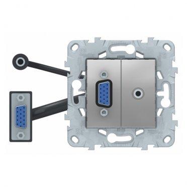 Розетка HDMI Schneider Electric Unica NEW NU593230 скрытая установка алюминий модули HD15 и mini Jack