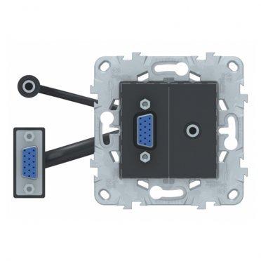 Розетка HDMI Schneider Electric Unica NEW NU593254 скрытая установка антрацит модули HD15 и mini Jack
